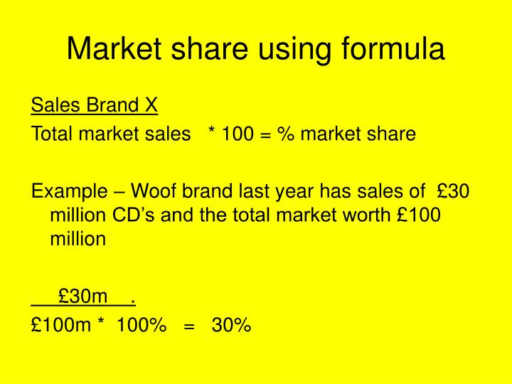 Market share using formula