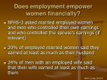 does employment empower women financially