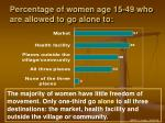 percentage of women age 15 49 who are allowed to go alone to