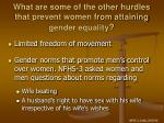 what are some of the other hurdles that prevent women from attaining gender equality