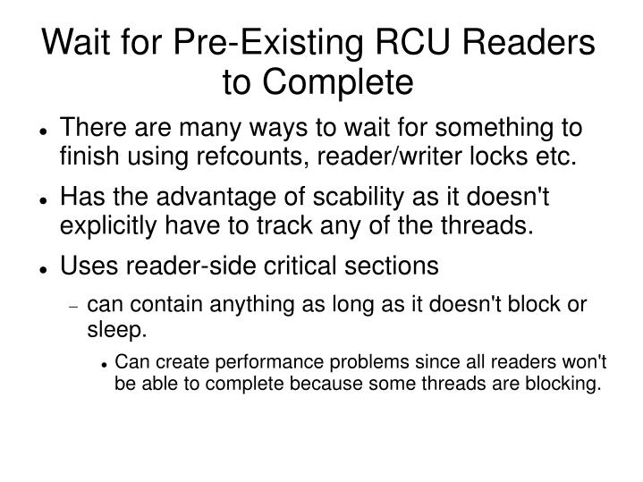 Wait for Pre-Existing RCU Readers to Complete
