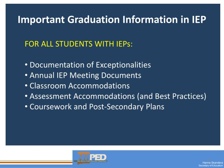 Important Graduation Information in IEP