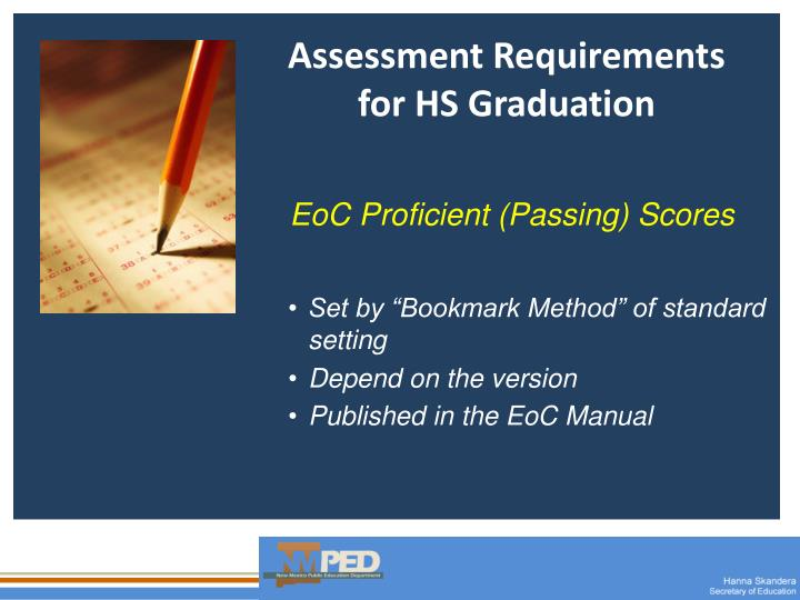 Assessment Requirements for HS Graduation