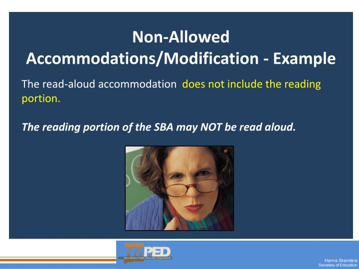 Non-Allowed Accommodations/Modification - Example
