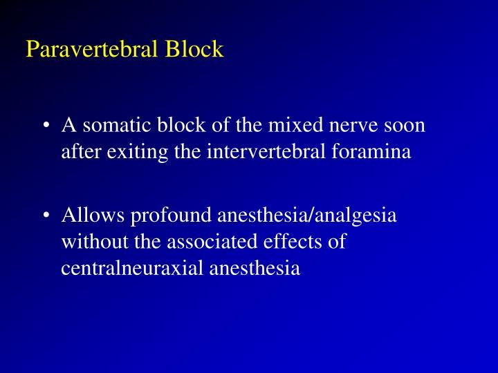 Paravertebral Block