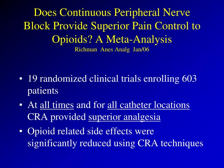 Does Continuous Peripheral Nerve Block Provide Superior Pain Control to Opioids? A Meta-Analysis