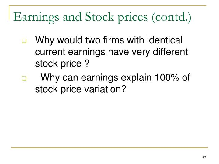 Earnings and Stock prices (contd.)