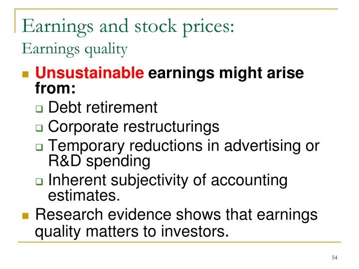 Earnings and stock prices: