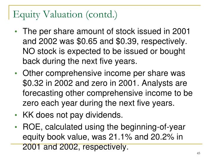 The per share amount of stock issued in 2001 and 2002 was $0.65 and $0.39, respectively.  NO stock is expected to be issued or bought back during the next five years.