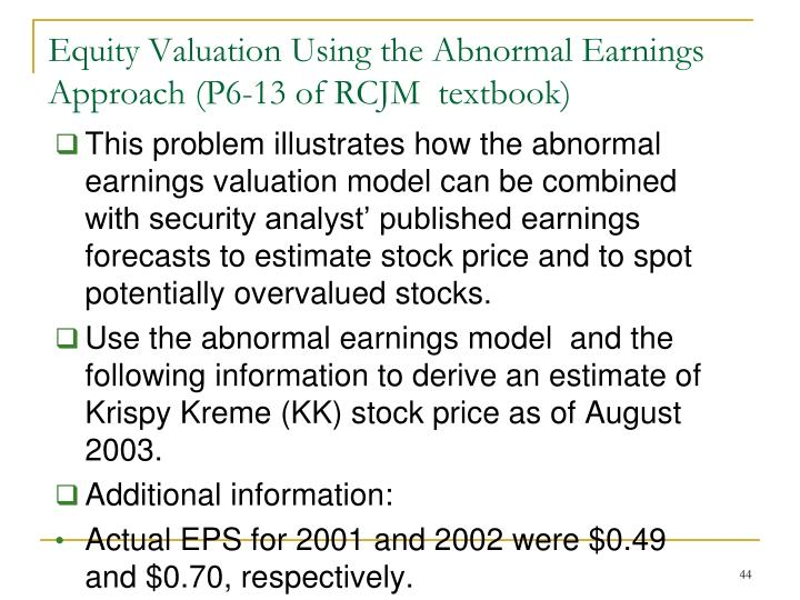 This problem illustrates how the abnormal earnings valuation model can be combined with security analyst' published earnings forecasts to estimate stock price and to spot potentially overvalued stocks.