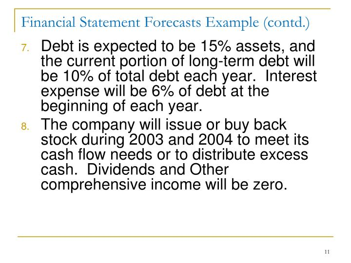 Financial Statement Forecasts Example (contd.)