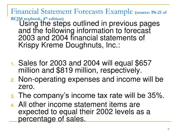 Financial Statement Forecasts Example