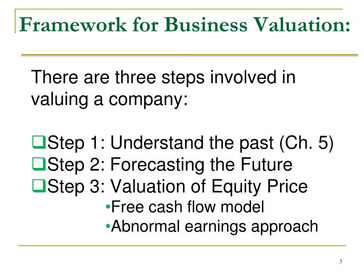 Framework for business valuation