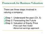 framework for business valuation