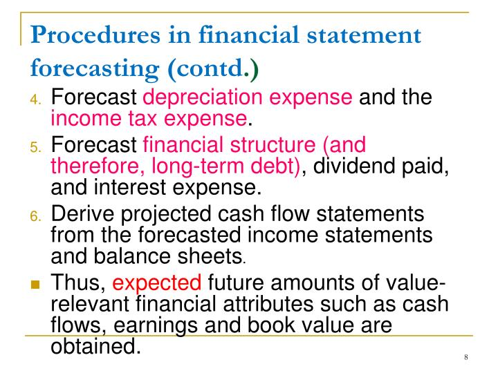 Procedures in financial statement forecasting (contd