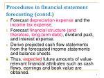 procedures in financial statement forecasting contd