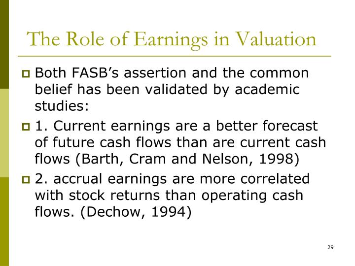 The Role of Earnings in Valuation