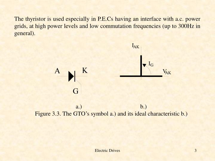 The thyristor is used especially in P.E.Cs having an interface with a.c. power grids, at high power ...