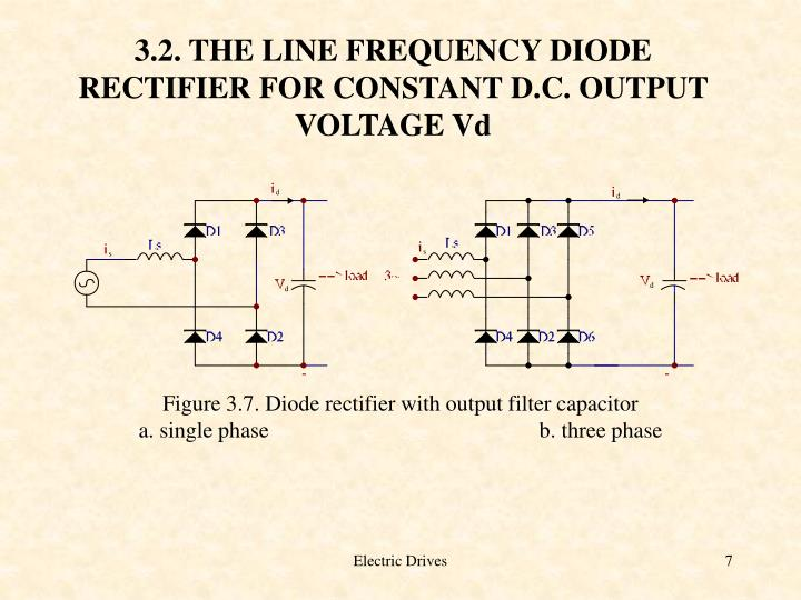 3.2. THE LINE FREQUENCY DIODE RECTIFIER FOR CONSTANT D.C. OUTPUT VOLTAGE Vd