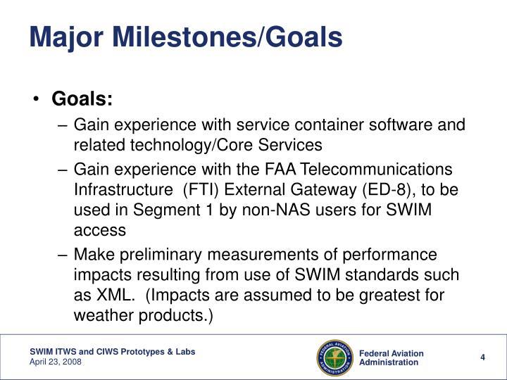 Major Milestones/Goals