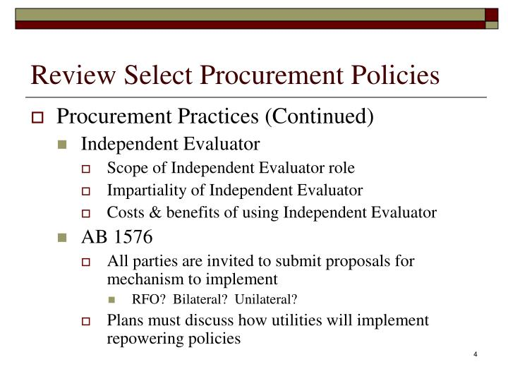 Review Select Procurement Policies