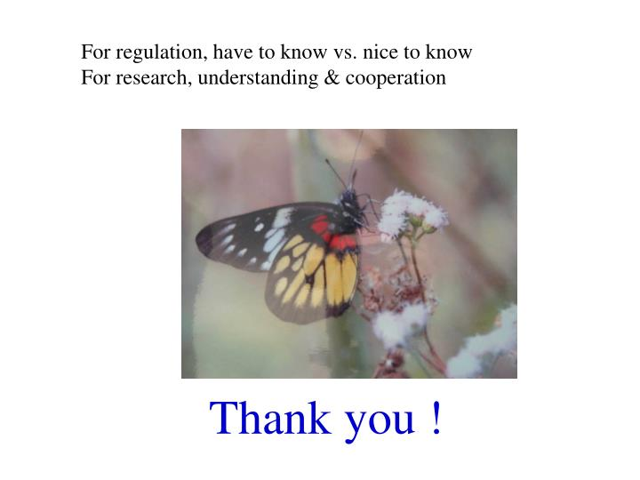 For regulation, have to know vs. nice to know