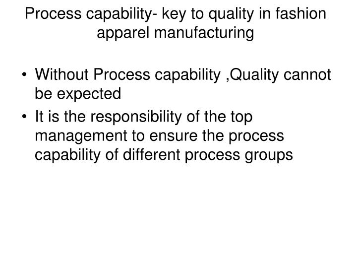 Process capability- key to quality in fashion apparel manufacturing