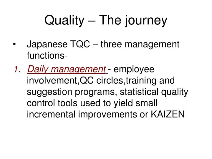 Quality – The journey