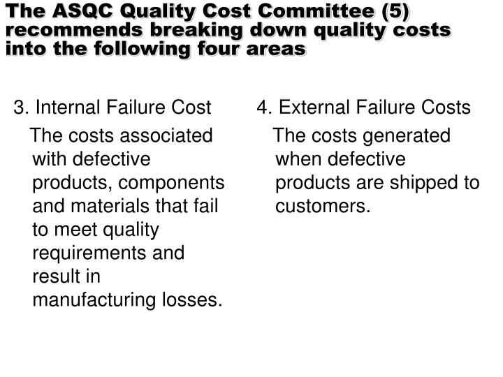 The ASQC Quality Cost Committee (5) recommends breaking down quality costs into the following four areas