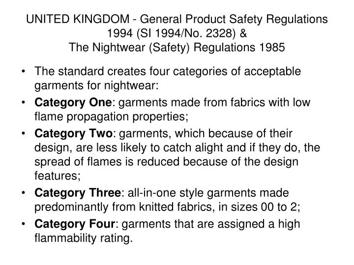 UNITED KINGDOM - General Product Safety Regulations 1994 (SI 1994/No. 2328) &
