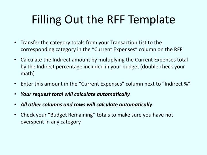 Filling out the rff template