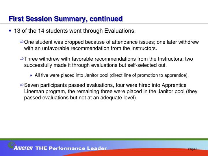 First Session Summary, continued