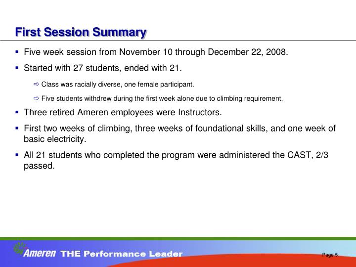 First Session Summary