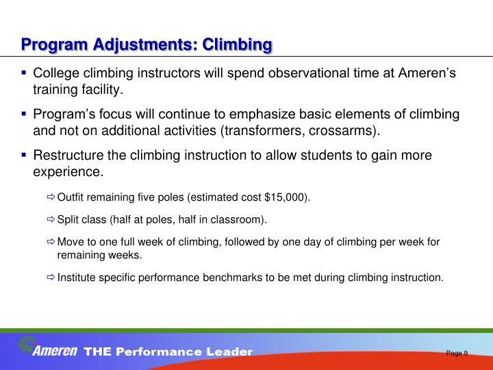 Program Adjustments: Climbing