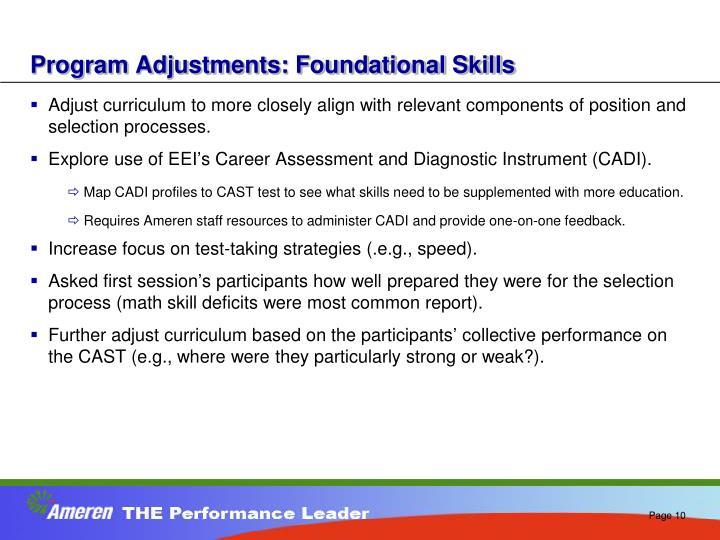 Program Adjustments: Foundational Skills