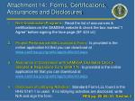 attachment 14 forms certifications assurances and disclosures