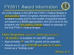 fy2011 award information