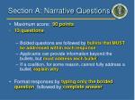 section a narrative questions