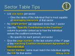 sector table tips