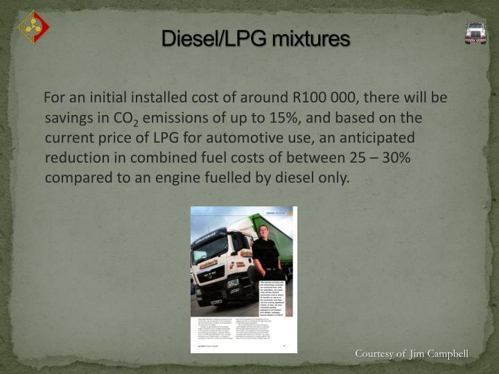 Diesel/LPG mixtures