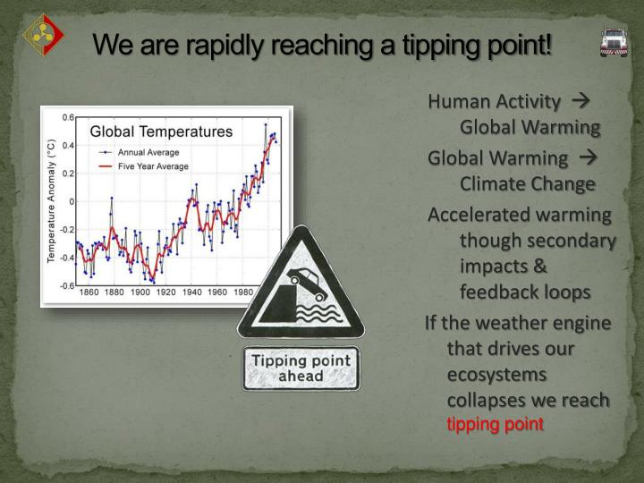 We are rapidly reaching a tipping point!