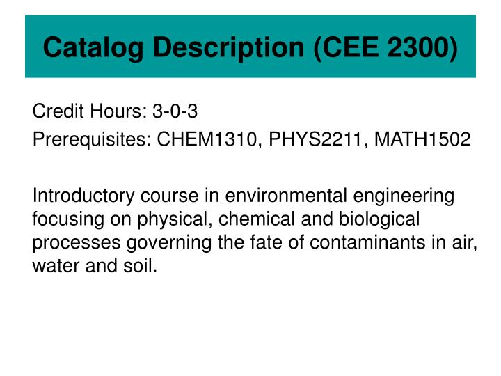 Catalog description cee 2300