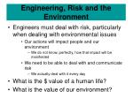 engineering risk and the environment