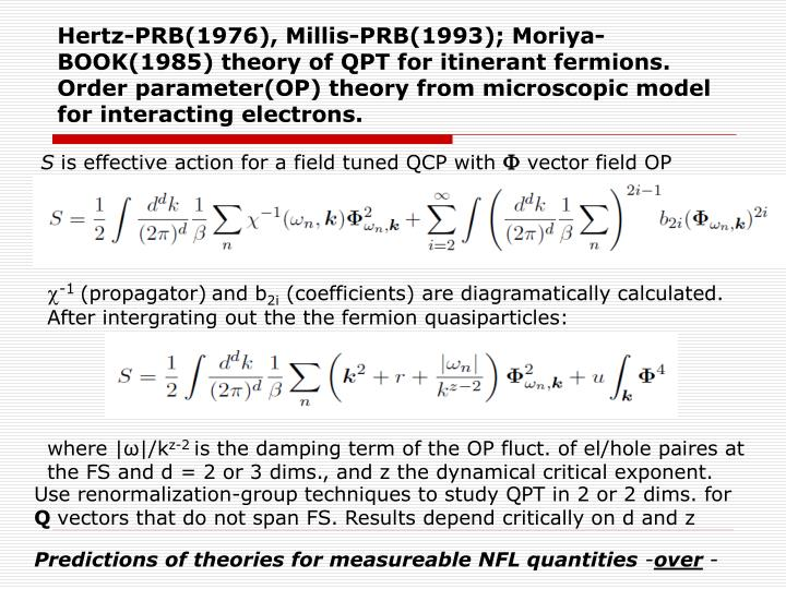Hertz-PRB(1976), Millis-PRB(1993); Moriya-BOOK(1985) theory of QPT for itinerant fermions. Order parameter(OP) theory from microscopic model for interacting electrons.