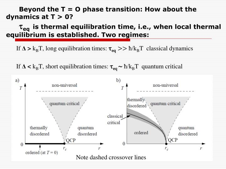 Beyond the T = O phase transition: How about the                                 dynamics
