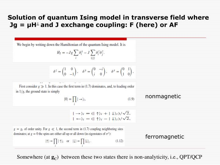 Solution of quantum Ising model in transverse field where