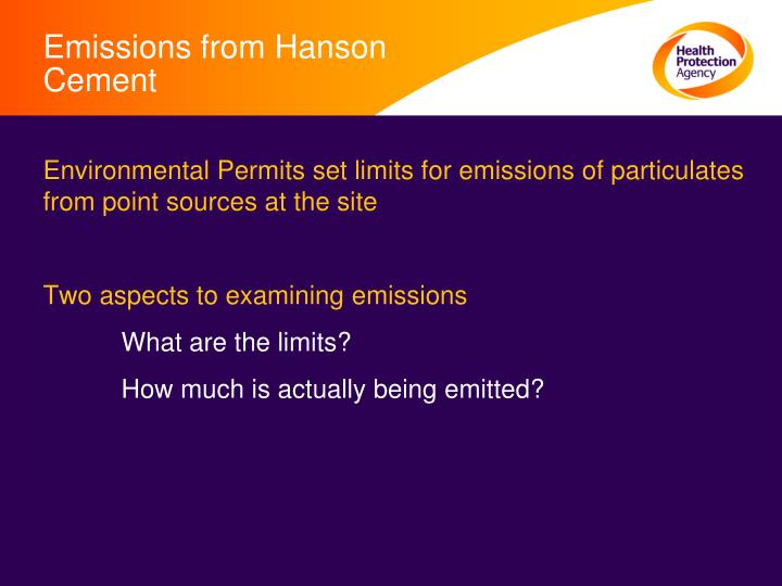 Emissions from Hanson Cement