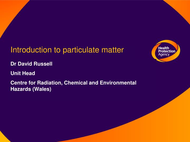 Introduction to particulate matter