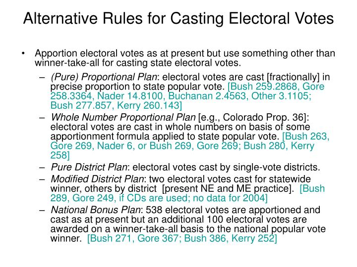 Alternative Rules for Casting Electoral Votes