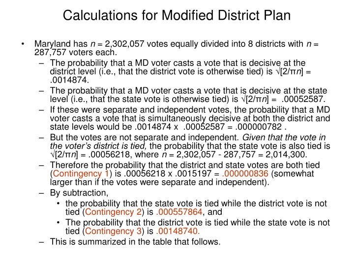 Calculations for Modified District Plan